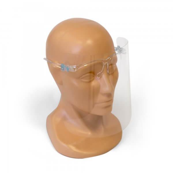 Apsauginis veido skydas su akinių rėmeliu