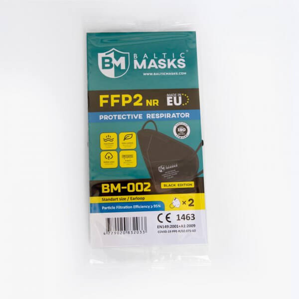 Juodas FFP2 respiratorius BM-002 BLACK